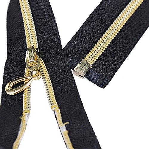 5 cremalleras metálicas de cremallera abierta de metal para costura de 25cm, 35cm, 40cm, 50cm, 60cm de largo, color azul marino, blanco, negro, dorado 60CM BLACK