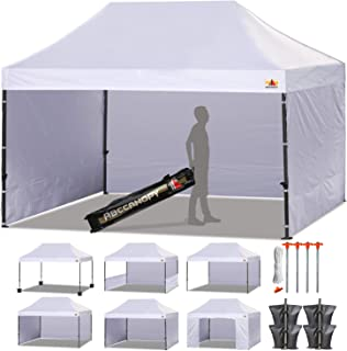 ABCCANOPY 18+ Colors Deluxe 10x15 Pop up Canopy Outdoor Party Tent Commercial Gazebo with Enclosure Walls and Wheeled Carry Bag Bonus 4X Weight Bag and 2X Half Walls (White)