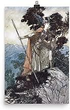Retrograde Ink Arthur Rackham - Brunhilde - Vintage Norse Mythology Viking Illustration Wall Artwork Poster Print Painting Home Decor Hanging Art