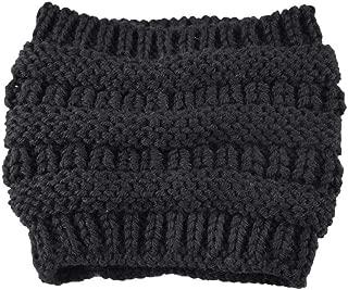 Swyss Winter Warm Hats Women's Girl Stretch Knit Hat Messy Bun Ponytail Beanie Holey Hats