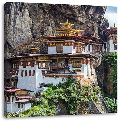 Pixxprint Chinesische Festung im Berg, Format: 40x40 auf Leinwand