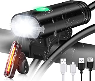 GameXcel Bike Light - USB Rechargeable Bicycle Light Set - Super Bright LED Headlights and Tail Lights for Mountain Bike and Road Bike Cycling Safety - Fits for Hybrid, Road, MTB for Night Sports