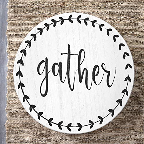 Rotatable Lazy Susan with Sentimental Phrase and Bold Leaf Accents - Gather