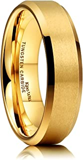 Glory 6mm Matte Finish Tungsten Carbide Ring 24K Gold Plated Comfort Fit Wedding Band
