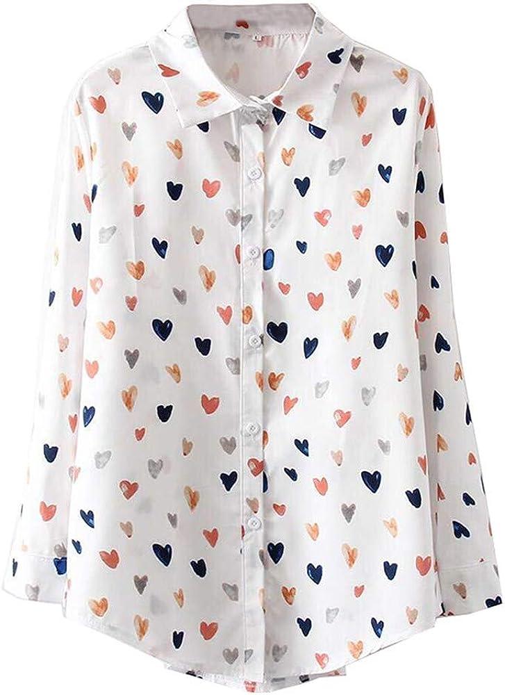 Women's Long Sleeve V Neck Heart Print Blouses Tops Button Down Business Shirts White