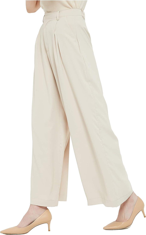1920s Fashion & Clothing | Roaring 20s Attire Tronjori Women High Waist Casual Wide Leg Long Palazzo Pants Trousers  AT vintagedancer.com