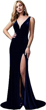 9b19567e8a20 DarlingU Women's Sexy Velvet Evening Dress Mermaid Long Slit Formal Party  Gown