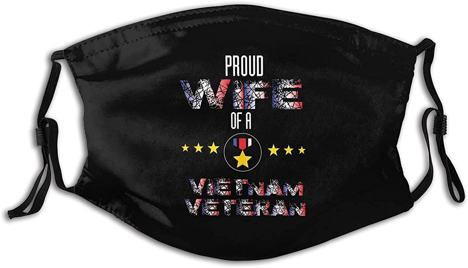 Proud Wife of A Vietnam Veteran Face Mask, with 2 Carbon Filter Bandanas Reusable Washable Fabric Breathable Adjustable Balaclava for Men Women
