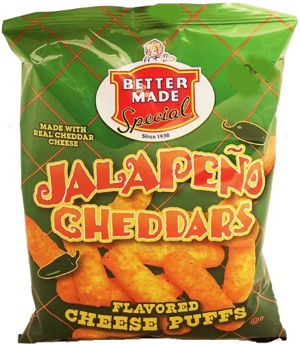 Better Made jalapeno cheddars flavored cheese puffs, 2.375-oz. bag