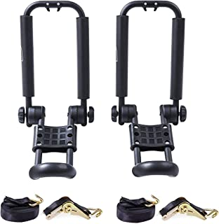 AA-Racks J-Bar Rack Roof Top Mount with 16 Ft Ratchet Lashing Straps, Folding Carrier For Your Canoe, SUP and Kayaks on SUV Car Truck