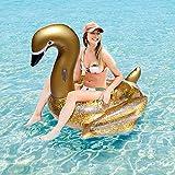 Svvsgf Juguetes acuáticos para Piscina, Lentejuelas Doradas PVC Cisne Inflable Cisne Inflable Fila Flotante Lentejuelas Cisne Cama Flotante