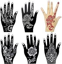Xmasir 6 Pieces India Henna Tattoo Stencil Kit for Women Girl Hand Art Painting Temporary Tattoo Sticker Glitter Templates 20 X 10.5cm