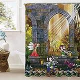Country Home Decor Duschvorhang, Feen spielen in den Ruinen mit Blumen, Blüten, Schmetterlingen, Fantasie-Szene, wasserdicht, schimmelresistent, Polyesterstoff, Badezimmer-Sets mit 12 Haken (100prozent Po