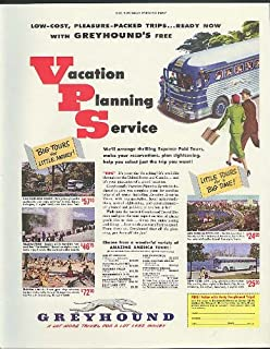 Vacation Planning Service low-cost trips Greyhound Bus ad 1951