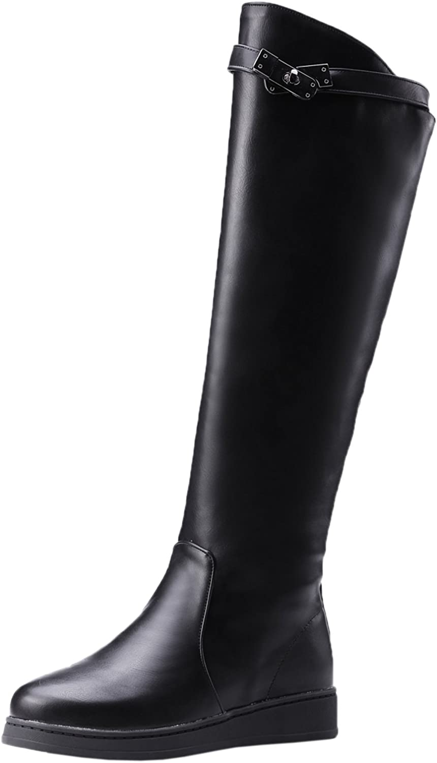 BIGTREE Riding Boots Women Fall Winter Strap Black Flat Warm Casual Comfortable Knee High Boots