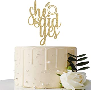 Gold Glitter She Said Yes Cake Topper - for Engagement/Bridal Shower/Wedding Shower/Proposal/Bachelorette Party Decorations