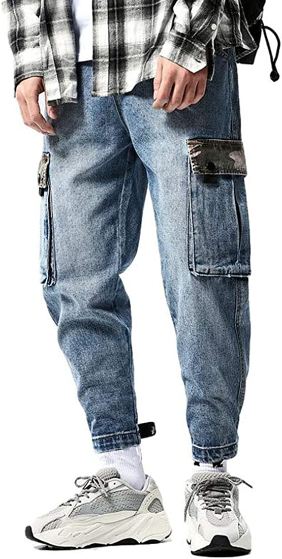 Idopy Men`s Casual Loose Max 89% OFF Hip Hop Cargo Beauty products Street Style Denim Jeans