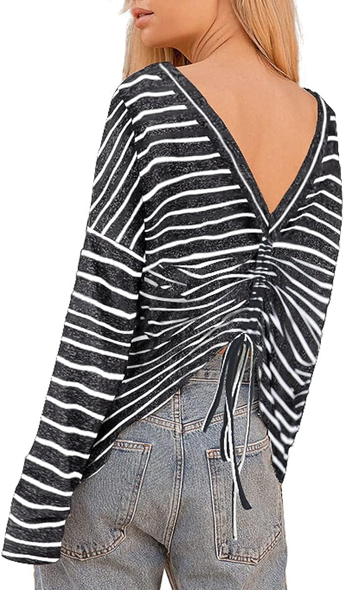 Qumee Womens Long Sleeve Shirt Sexy Open Back Drawstring Tunic Shirts Striped Casual Loose Blouse Tops