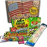 Heavenly Sweets Golosinas Americanas Agrias - Caja - Warheads, Trolli, Laffy Taffy, Sour Patch, CryBaby, Jelly Belly - Regalo Cumpleaños, Halloween, Navidad - 10 Dulces, Pack Retro - 25x18x2,5 cm