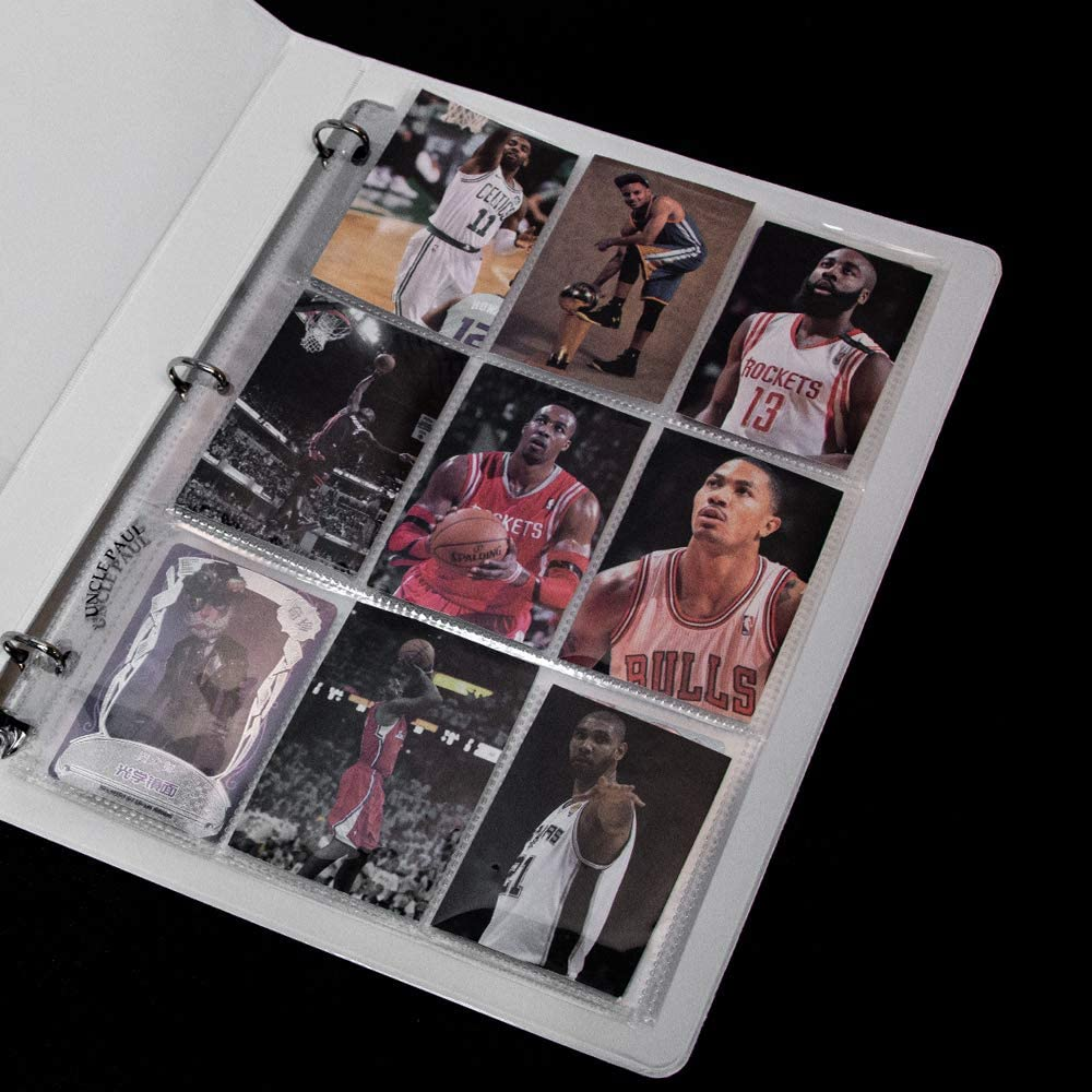 Trading Card Sleeve Pages 9 Pocket Pages Protectors 3 Holes for Trading Cards//Sport Cards//Game Cards Fit 3 Ring Binder 25 Sheets OS0225