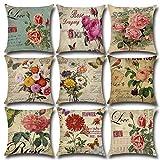LEV Cushion Cover - 45 * 45cm Throw Pillowcase Vintage Flowers Cushion Covers Car Sofa Home Decor Capa de almofadas 2018 New Year coussins decoratif - by 1 PCs