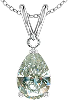 RINGJEWEL 1.17 ct VVS1 Silver Plated Pear Solitaire Real Moissanite Ice Blue Pendant