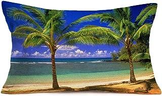 YANGYULU Pillow Cover Ocean Tropical Plants Throw Pillow Covers Green Palm Coconut Tree Print Cotton Linen Island Beach Coastal Cushion Case Cover Decor Home Sofa Car 12