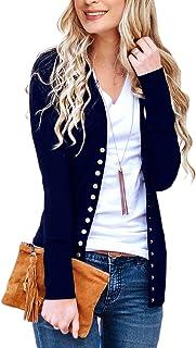 NENONA Damen V-Ausschnitt Button Down Knitwear Langarm Weich Basic Knit Cardigan Sweater