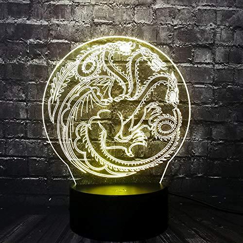 Led Nachtlicht Spiel Drachen Logo 3D Illusion Nachttisch Lampe 7 Farben Ändern Schlafen Beleuchtung Smart Touch Button Nette Geschenk Für Kinder Weihnachten Geburtstagsgeschenke