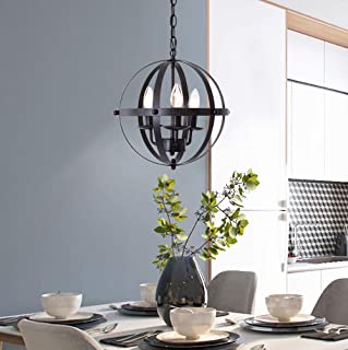 Jaycomey Pendant Light,Industrial Globe Pendant Lighting,Vintage Chandelier Metal Black Hanging Light Fixture for Kitchen Island Farmhouse Dining Room