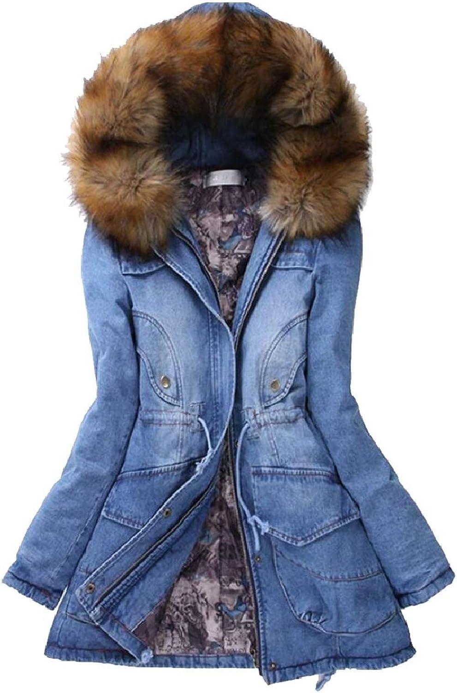 TymhgtCA Women's Quilted FauxFur Collar Denim Mid Long Winter Down Jacket Coat