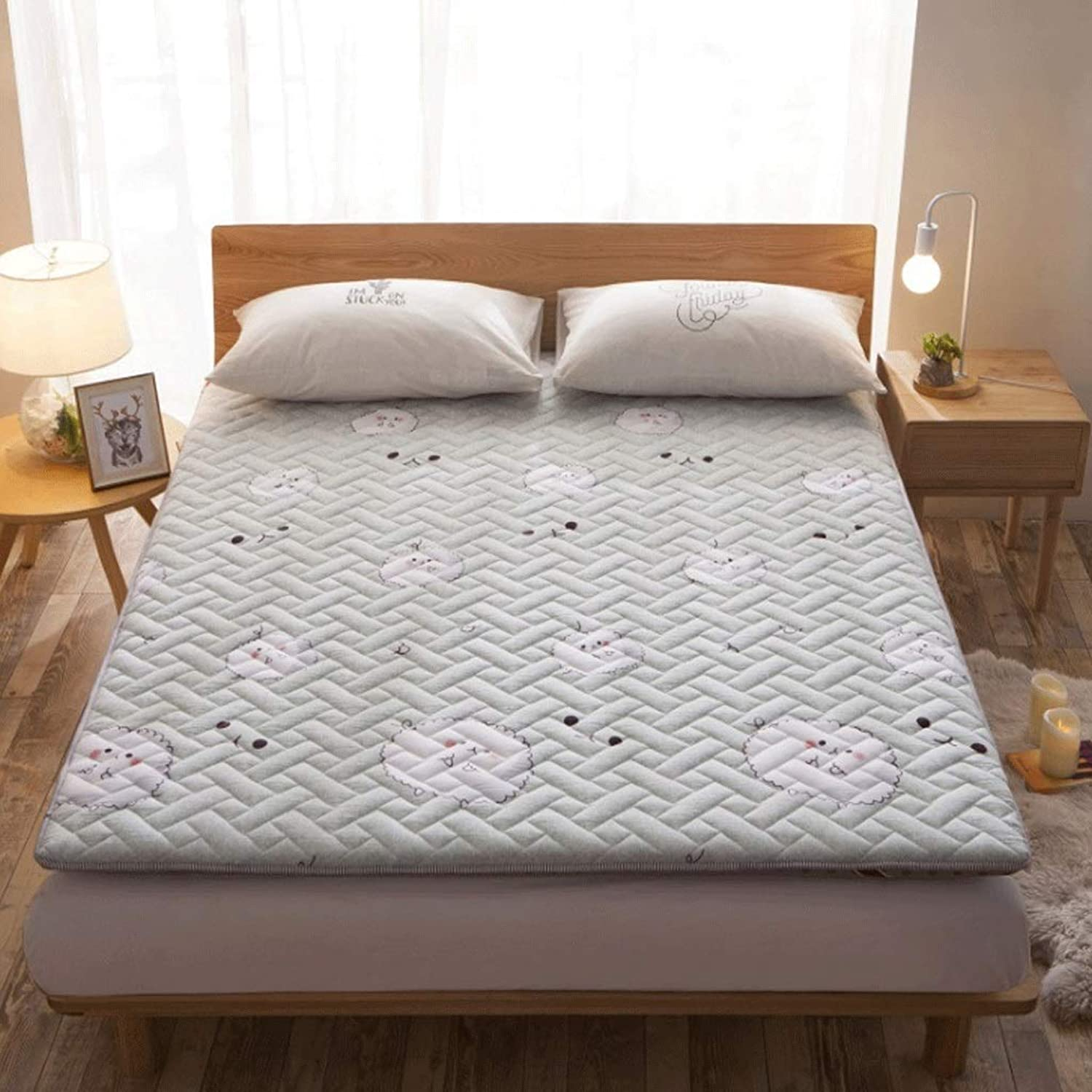 Washed Cotton Padded Mattress 8cm Thickness Tatami Single Double Sleeping Mat (color   2, Size   90x200cm)