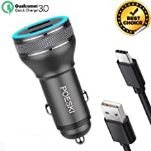 USB Car Charger Fast Quick Charge 3.0 Rapid USB C Compatible Samsung Galaxy S8/S10+/S10e/S10/S9/S9 Plus/S8 Plus/S8 Active/Note10/Note 9/8/A20/A50/A70 with Type C Cable 3.3ft