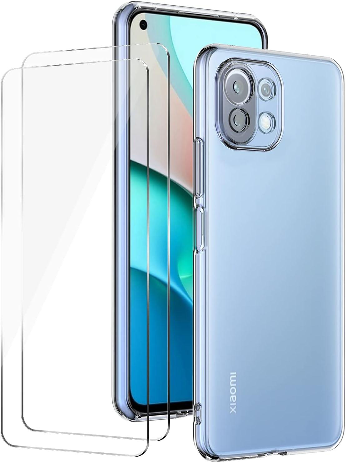 Funda para Xiaomi Mi 11 Lite 5G/4G + 2 Piezas Cristal Templado Protector de Pantalla, Carcasa TPU Silicona Anti-Choques y Anti- Arañazos - Transparente