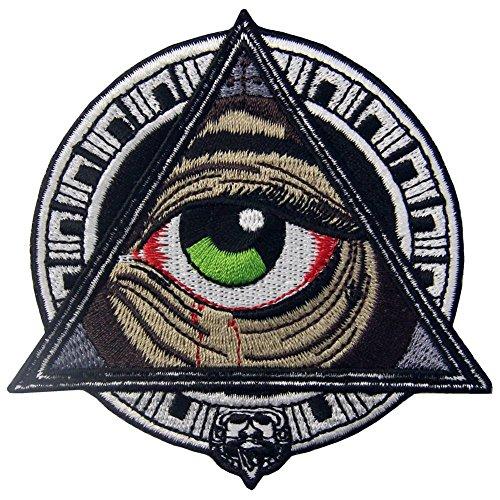 ZEGIN Aufnäher, Bestickt, Design: Geometrische Muster der Mayas alle, die blutendes Auge sehen, zum Aufbügeln oder Aufnähen