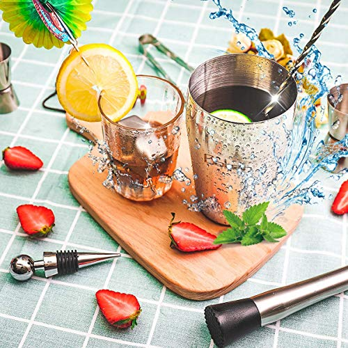 Cocktail Shaker Set, Baban 22Teilige Cocktail Shaker + Whisky Steine, Komplettes Kit, Sie müssen keine zusätzlichen Whisky Steine kaufen,Ideal für Familien, Feste, Bars  - 5