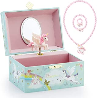 Kids Musical Jewelry Box for Girls and Jewelry Set with Magical Unicorn - Blue Danube Tune Pink