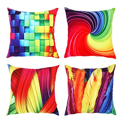 Topfinel Colorful Geometric Cushion Cover Microfiber Decorative Square Throw Pillow Cases for Sofa Bedroom 18 x 18 Inch, with Invisible Zipper 45cm x 45cm, Set of 4