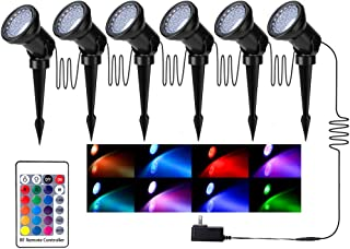 ZODIC Multi-Color & Adjustable Landscape Lights, 36 LED IP65 Waterproof RGB Spotlights with Spiked Stand for Garden Decora...