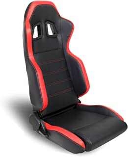 Right//Passenger Side Only DNA RS-T5-BK-RD-R Red PVC Faux Leather with Black Trim Racing Seat
