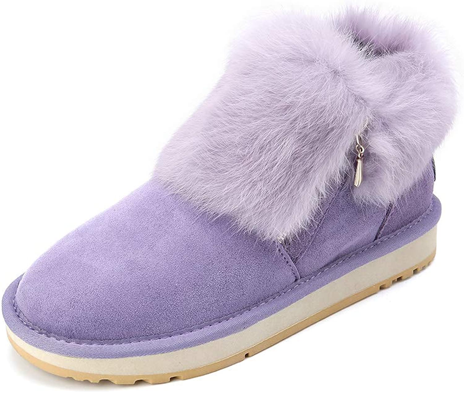 INOE CREATE GLAMOUR Fashion Real Sheepskin Leather Suede Fur Lined Women Rabbit Fur Winter Short Ankle Snow Boots for Girls Zipper Winter shoes