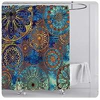 バスルーム、バスタブのために70x70インチ防水装飾ポリエステル布バスカーテンセットをカーテンでフックボヘミアンフラワーシャワーマンダラ E