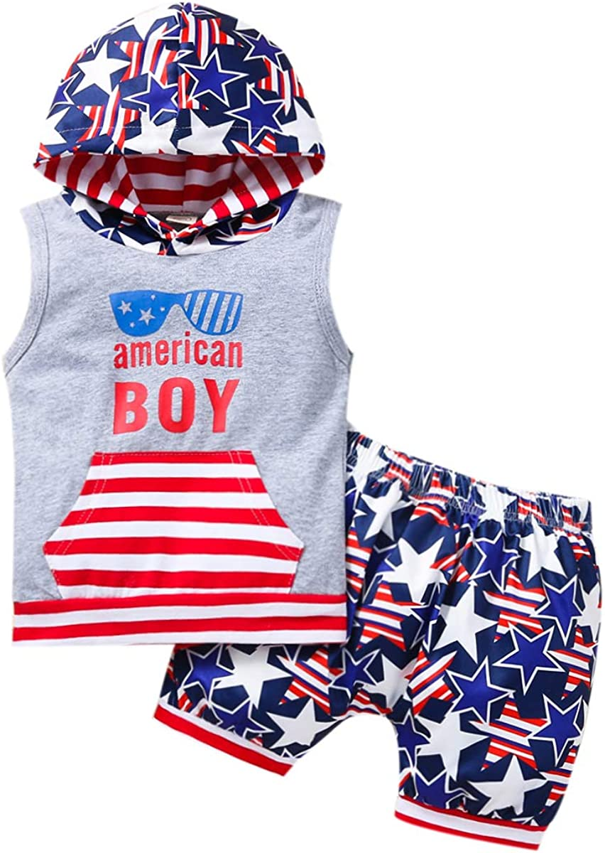 Thorn Tree Toddler Boy's Clothes Set Crew Neck Sleeveless T-Shirts Elastic Waist Shorts Summer Outfits