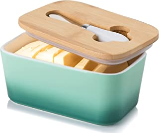 Porcelain Butter Dish with Knife & Wooden Lid, Candiicap Airtight Butter Keeper for Countertop, Large Butter Holder for All Types of Butter(Avocado Green)