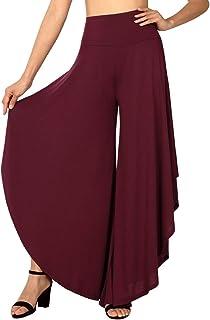 FISOUL Womens Palazzo Pants Layered Wide Leg Flowy Dress Pants Ruffle High Waist Capri Pants