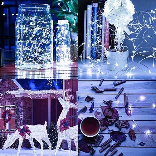 Vetrineinrete Filo di 50 micro led stringa 5 metri con cavo metallico flessibile a batteria catena di luci lucine per confettata presepe decorazioni natalizie 1214 (Luce bianca) M20