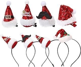 Amosfun 8 stycken julmössa pannband julmössa hårklämma huvudbonad minihatt klocka huvudbonad pannband semester barn barn k...