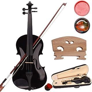 4/4 Violin, Full Size Violin, Natural Solid Wood Satin Acoustic Violin Starter Kit with Case, Bow, Rosin for Beginner Stud...