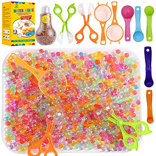 MAGICLUB Water Beads - 30000 Beads 2 Strainers 2 Tweezers 5 Spoons,Soft Water Jelly Beads Motor...