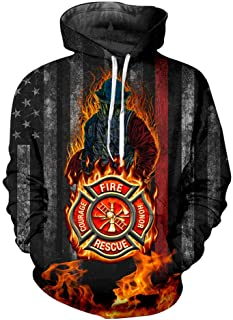 nordic runes Thin Red Line Firefighter Hoodies for Men Women Plus Size Pullover Sweatshirts